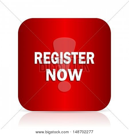 register now red square modern design icon