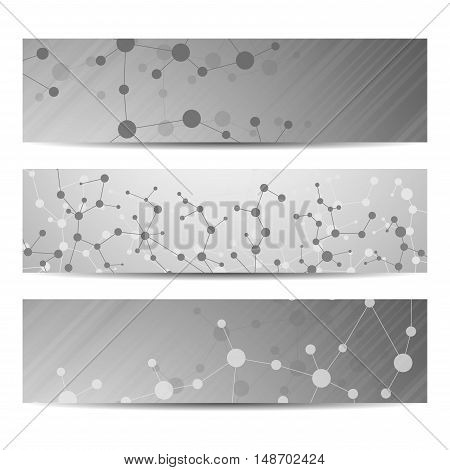 Abstract geometric banners molecule and communication. Science and technology design, structure DNA, chemistry, medical background, business and website.