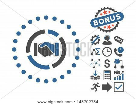 Acquisition Diagram icon with bonus pictogram. Vector illustration style is flat iconic bicolor symbols, cobalt and gray colors, white background.