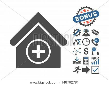 Add Building icon with bonus images. Vector illustration style is flat iconic bicolor symbols, cobalt and gray colors, white background.