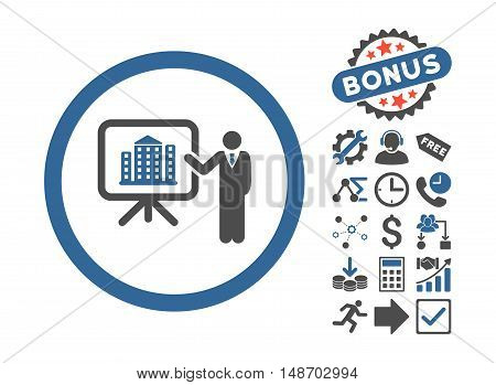 Architecture Presentation pictograph with bonus pictograph collection. Vector illustration style is flat iconic bicolor symbols, cobalt and gray colors, white background.