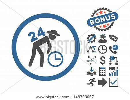 Around the Clock Work pictograph with bonus symbols. Vector illustration style is flat iconic bicolor symbols, cobalt and gray colors, white background.