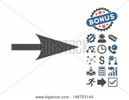 Arrow Axis X pictograph with bonus pictogram. Vector illustration style is flat iconic bicolor symbols, cobalt and gray colors, white background.