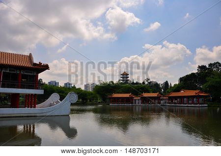 Jurong, Singapore - April 14, 2011: Pavillion and water view in Chinese Garden/Jurong Garden, one of biggest park in Singapore