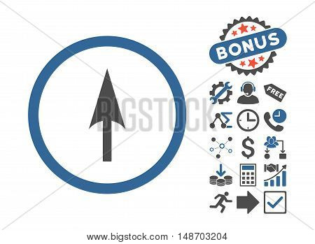 Arrow Axis Y pictograph with bonus pictogram. Vector illustration style is flat iconic bicolor symbols, cobalt and gray colors, white background.