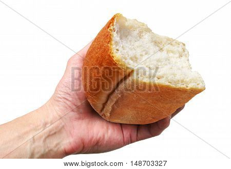 Hand with the half of white bread isolated on white