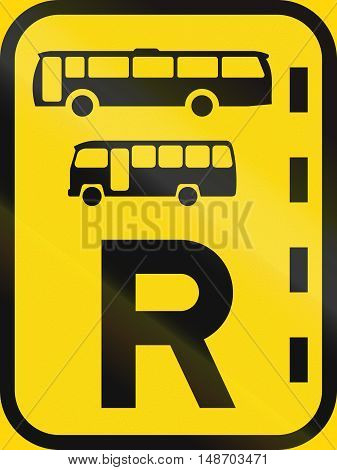 Temporary Road Sign Used In The African Country Of Botswana - Reserved Lane For Buses And Midi-buses