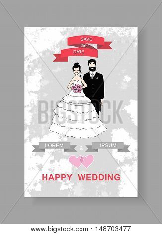 illustration of a bride and groom. Vintage wedding invitation with  place for text