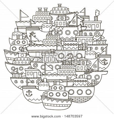 Circle shape pattern with cute doodle boats for coloring book. Vector illustration