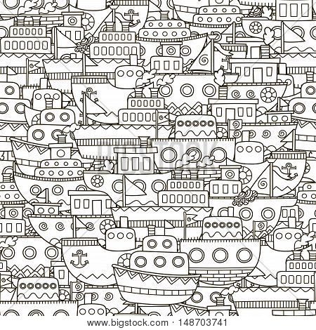 Doodle boats seamless pattern. Black and white ships background. Great for coloring book, wrapping, printing, fabric and textile. Vector illustration
