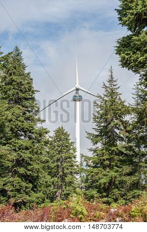 Wind Turbine onto of Grouse Mountain in Vancouver British Columbia