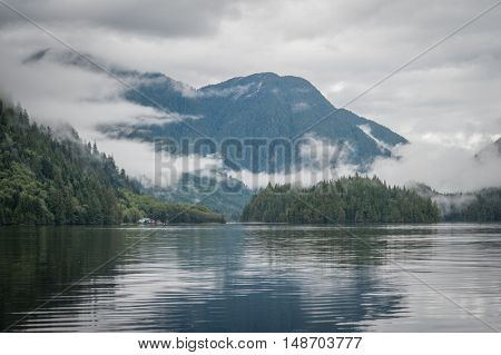 Inlet in the great bear rainforest in British Columbia