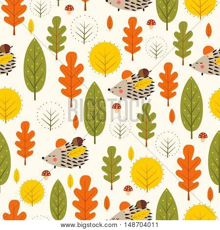 Autumn forest background. Hedgehog and decorative leaves seamless pattern. Baby hedgehog with trees vector illustration. Nature design for textile, wallpaper, fabric.