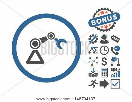 Artificial Manipulator pictograph with bonus images. Vector illustration style is flat iconic bicolor symbols, cobalt and gray colors, white background.