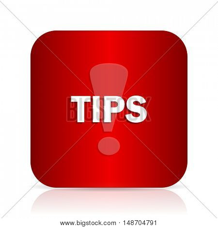 tips red square modern design icon