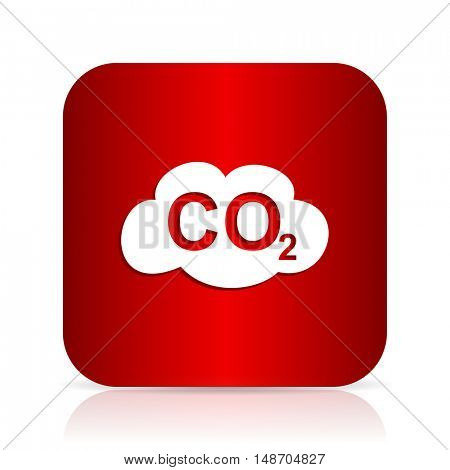 carbon dioxide red square modern design icon