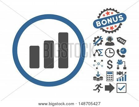 Bar Chart Increase icon with bonus pictures. Vector illustration style is flat iconic bicolor symbols cobalt and gray colors white background.