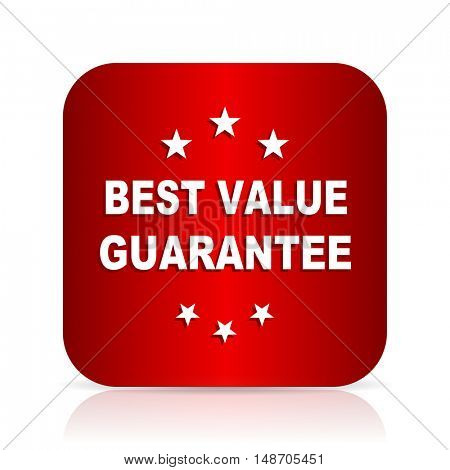 best value guarantee red square modern design icon