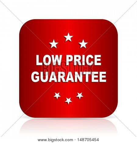 low price guarantee red square modern design icon