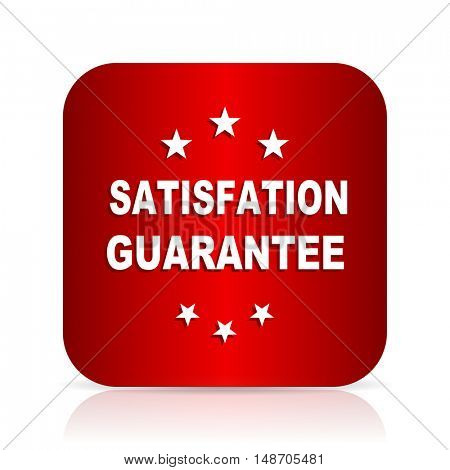 satisfaction guarantee red square modern design icon