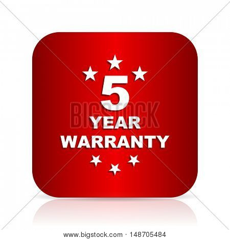 warranty guarantee 5 year red square modern design icon
