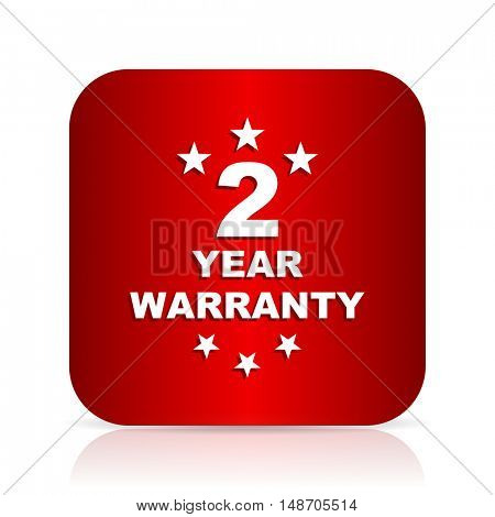 warranty guarantee 2 year red square modern design icon
