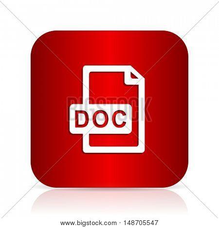 doc file red square modern design icon