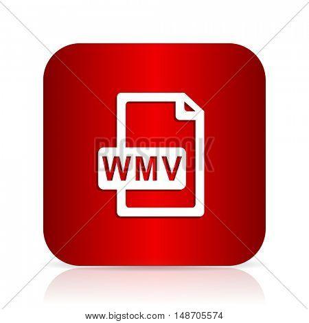 wmv file red square modern design icon