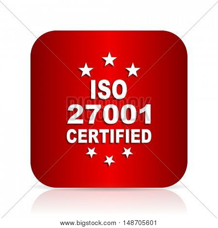 iso 27001 red square modern design icon