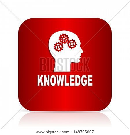 knowledge red square modern design icon