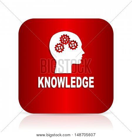knowledge red square modern design icon