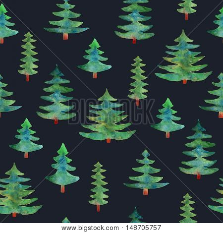 Watercolor green trees seamless pattern on dark blue background. Isolated hand drawn tree.