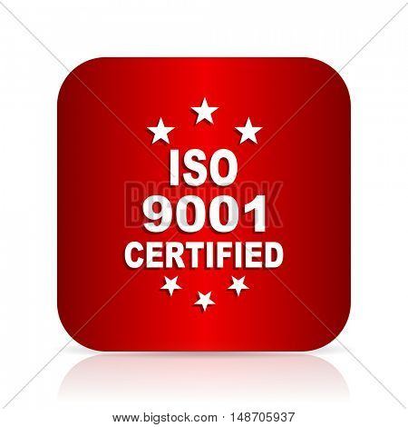 iso 9001 red square modern design icon
