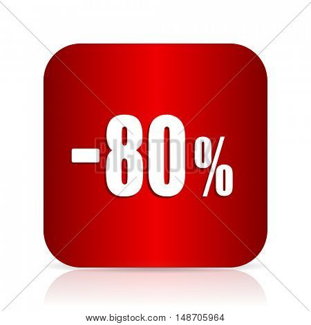80 percent sale retail red square modern design icon