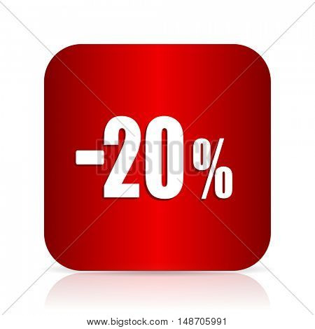 20 percent sale retail red square modern design icon