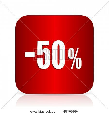 50 percent sale retail red square modern design icon