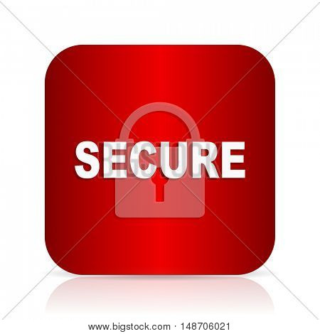 secure red square modern design icon