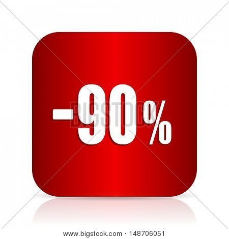 90 percent sale retail red square modern design icon