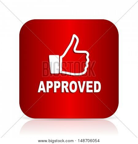 approved red square modern design icon