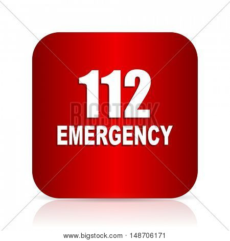 number emergency 112 red square modern design icon