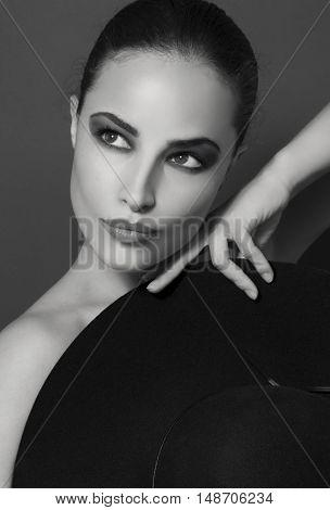 classic woman beauty black and white portrait