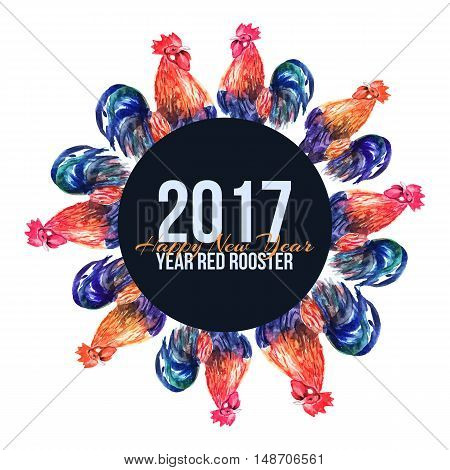 Vector watercolor fire cock on white background with text Happy New Year . Chinese calendar Zodiac for 2017 New Year of rooster. Isolated bird and text in watercolor.