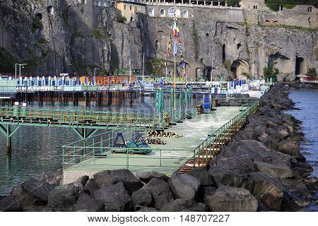 marina in sorrento city in mediterranean coast of italy