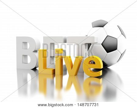 3d renderer image. Bet live with a soccer ball. Betting concept. Isolated white background.