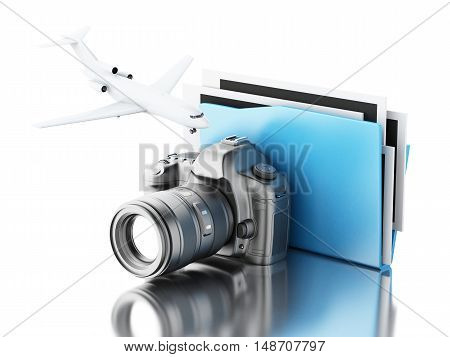 3d renderer image. Photo camera with folder. Photo album and travel concept. Isolated white background.
