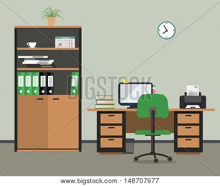 Workplace of office worker. There is the case for documents, desktop, a chair, the computer, a printer and other office objects in the picture. Vector flat illustration