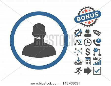 Call Center Operator icon with bonus pictures. Vector illustration style is flat iconic bicolor symbols, cobalt and gray colors, white background.