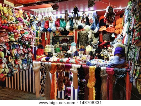 Colorful Wool Clothes At Riga Street Christmas Market