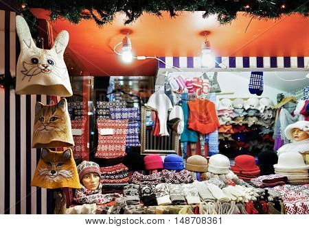 Colorful Woolen Clothes At Riga Street Christmas Market
