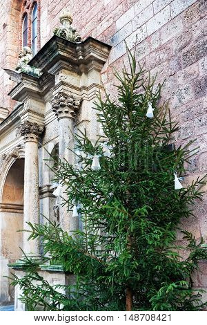 Fragment Of Saint Peter Church And Christmas Tree In Riga
